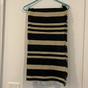 Black and white striped blanket scarf